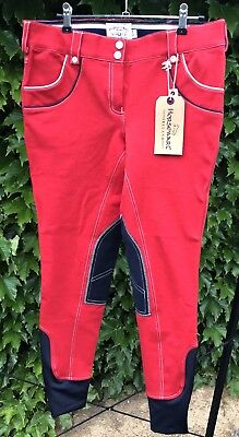 HORSEWARE Nina Ladies Breeches CHERRY RED BNWT 32R Approx 12-14