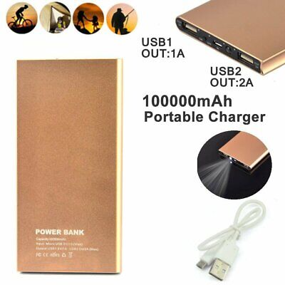 100000MAH ULTRA SLIM POWER BANK 2USB BATTERY CHARGER FOR iPHONE SAMSUNG HUAWEI