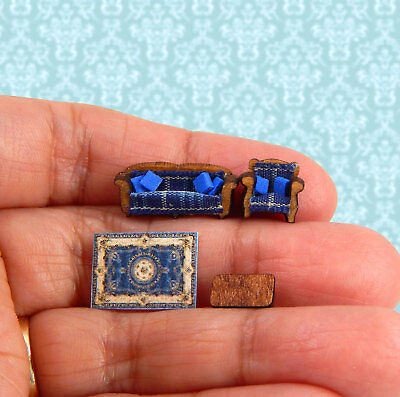 1/144th Scale Dollhouse Miniature Blue Sofa Set Armchair Cushions Coffee Table