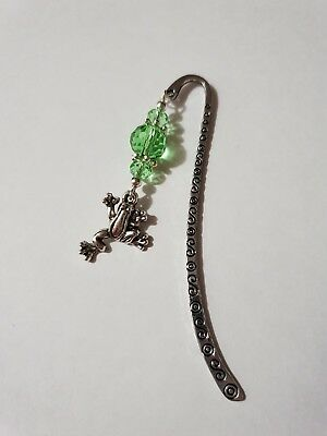 Bookmark With Green Crystals & Frog Charm