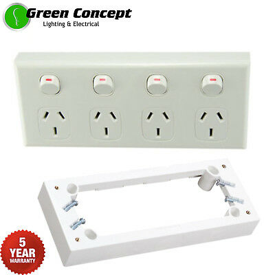 NEW Quad Power Point White GPO Four 4 Gang Socket Outlet & 25mm Mounting Block