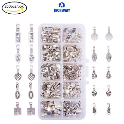 200pcs Snap on Pendant Bails Loops Jewelry Making Findings Connectors 7x3.5x3mm
