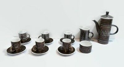 c1970s Cinque Ports Pottery complete coffee set. Quote for international buyers.