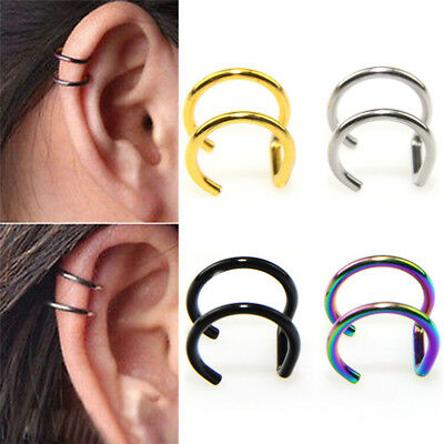 2X Men Women Fake Nose Lips U Ring Ear Clip Hoop Earrings Unisex No Piercing*UK*