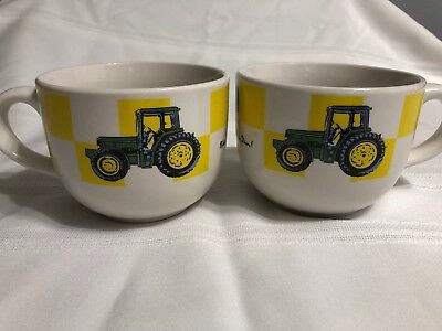 2 LARGE Gibson John Deere Farm Tractor Mug Cup Great For Soup Chili Bowl Coffee