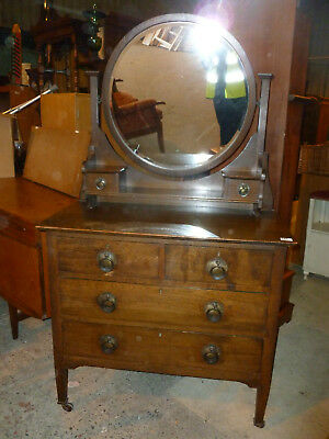 Vintage / Antique Dressing Table / Mirrored Drawers #3885w