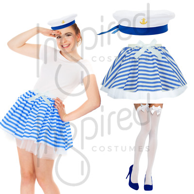 Sailor Instant Kit Scarf Hat One Size Adults Womens Ladies Fancy Dress Costume