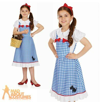 Girls Dorothy Costume Fairytale Character Oz Fancy Dress Kids Book Week Outfit