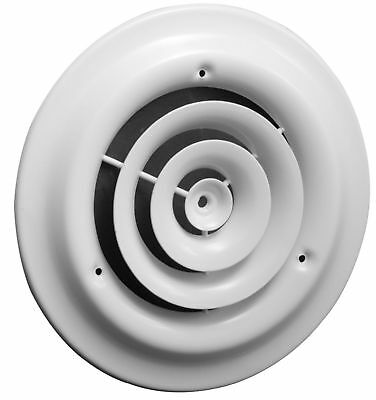 10 Round Ceiling Diffuser - Easy Air Flow - HVAC Duct [White] White New