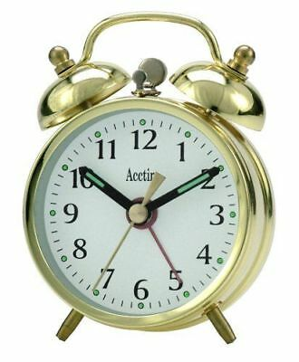 Acctim Mini Double Bell Wind-Up Alarm Clock In Gold Colour (25/457Br)