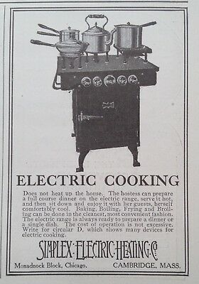 1908 Ad(J5)~Simplex Electric Heating Co. Cambridge, Mass. Electric Cooking Stove
