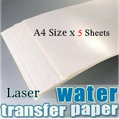 5pcs/lot Laser Water Slide Decal Craft Transfer Paper Transparent Color