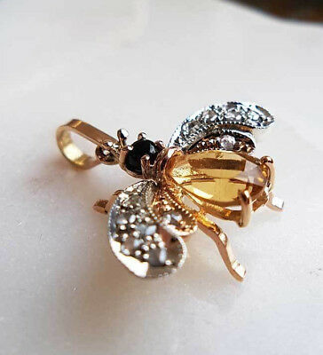 Victorian Inspired 9ct Rose Gold Yellow Topaz & Diamond Bee Pendant Necklace