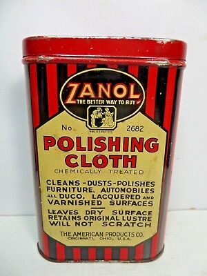 VERY RARE VINTAGE 1940-50's ZANOL POLISHING TIN CAN gas station oil WITH CLOTH
