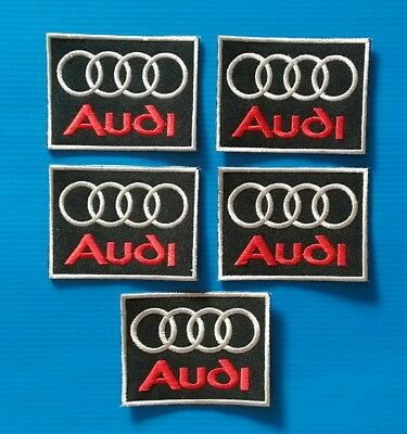 5 VALUE LOT AUDI  Embroidered Easy Iron/Sew On AUTO SHIELD Patches FREE SHIP