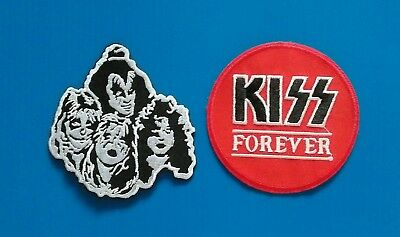 2 LOT KISS ROCK BAND Embroidered Easy Iron Or Sewn On Patches Free Ship