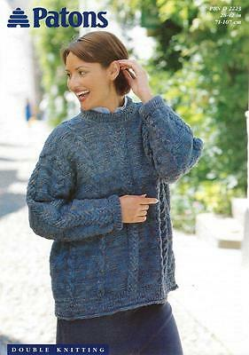 "PA2223 LADIES DK CABLED SWEATER / TUNIC KNITTING PATTERN 28-42""/71-107cm"