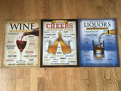 Tin Sign Bundle Wine, National Liquors, and Cheers Around the World NEW
