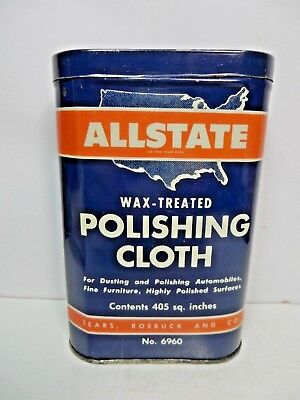 VERY RARE VINTAGE 1940-50's ALLSTATE CLOTH POLISHING TIN CAN gas station