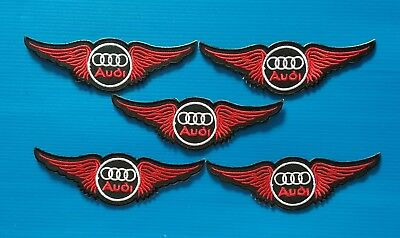 5 VALUE LOT AUDI  Embroidered Easy Iron/Sew On AUTO WING Patches FREE SHIP