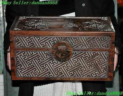 Chinese Huanghuali wood carving Pine mountain tower statue Storage boxes cabinet