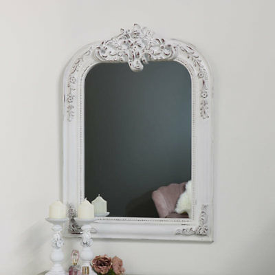 Large white overmantel arched wall mirror vintage French shabby chic display