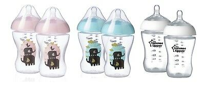 2 x 260ml 9floz Tommee Tippee ULTRA Feeding Bottles Green Pink Clear BPA Free
