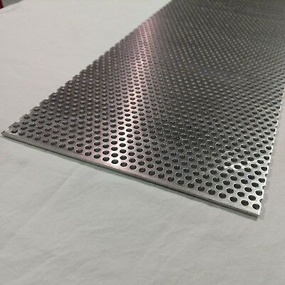 "Perforated Metal Aluminum Sheet .125 1/8"" Gauge 12"" x 24"" 1/4"" hole 3/8"" stagger"