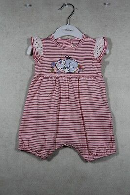 Baby Girl Size 0000,0 Fox & Finch Summer Pink Striped Romper  NWT