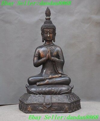 Old Temple Buddhism bronze gilt Pray meditation Thailand Buddha sakyamuni statue