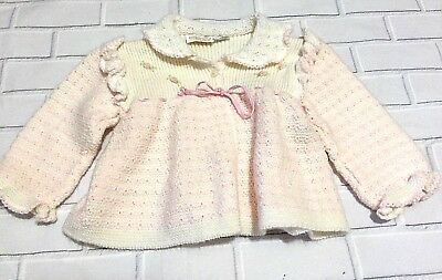 Vintage Atkins Girls Sweater Pink White Knit Italian Baby Button Down