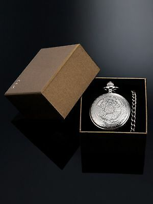 Quartz Pocket Watch for Men with Black Dial and Chain Silver