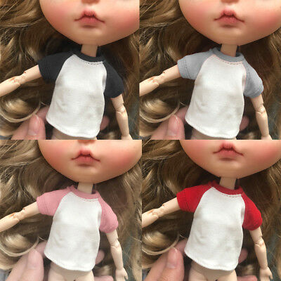 Fashion T-Shirt Short Sleeve for 1/6 Blythe Azone Licca Doll Clothes Decor