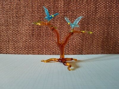 Collectible Vintage Hand Blown Glass Miniature Tree With 2 Blue Birds Figurine