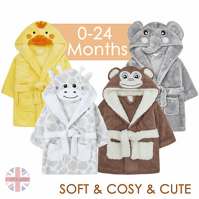 Baby Boys Girls Elephant Monkey Duck Dressing Gown Robe Plush Animal 6-24 Months