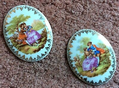 Limoges Miniature Small Plaque. Courting Couples... 2