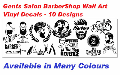 Gents salon BarberShop Barbers Cool Wall Art Sticker/DecalS - 10 designs