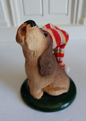 Byers Choice Christmas Carolers Hound Dog with stocking cap 1986