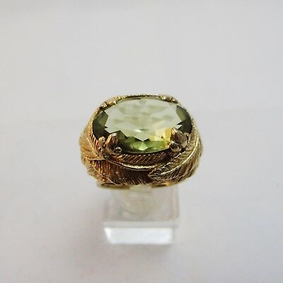 Fabulous Huge 10k Gold & Olivine Ring.  12.8 Grams. Size J1/2