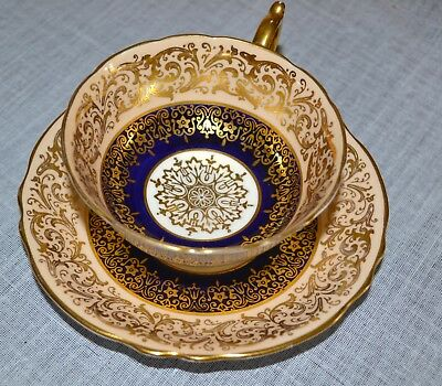 1940s PARAGON CUP AND SAUCER - COBALT BLUE/IVORY DOUBLE WARRANT