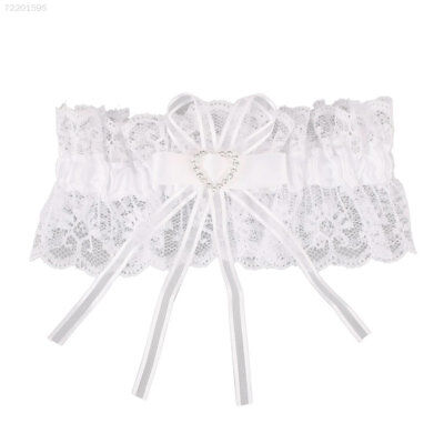 DC17 Ivory Satin Luxury Lace Bridal Fancy Bow Wedding Garter With Lucky Somethin