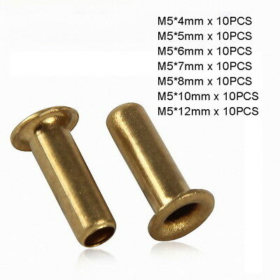 70pc M5 x (4mm-12mm) Copper Brass Eyelet Hollow Tubular Rivets Through Nuts Kit