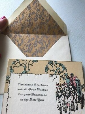 Unused Vintage Art Deco Christmas Card Matching Envelope 1930s Horse Carriage