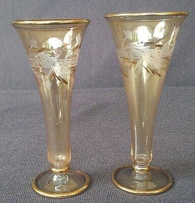 Vintage Royal Limited Pair Of Two Handcrafted Egypt Made Crystal Vases