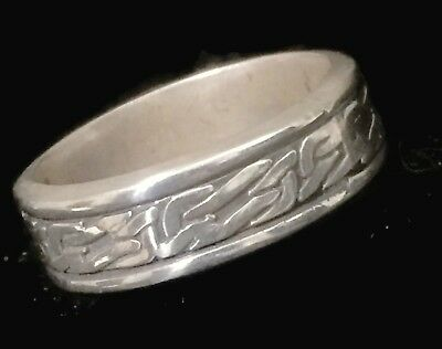 Spinner Barbed Wire Band Thumb Ring Vintage Sterling Silver Men Size 12.50
