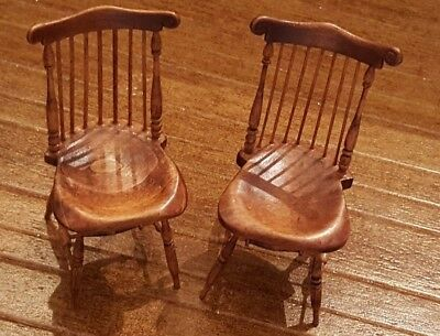 Dollhouse miniature pair of vintage artisan made Windsor chairs, signed JH
