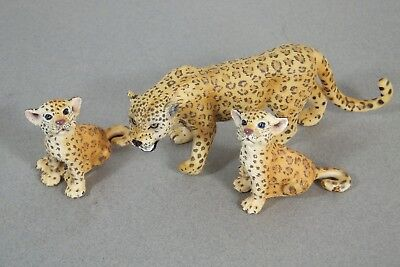 Lot of 3 Schleich Leopards Adult & 2 Sitting Cubs 2009 2006