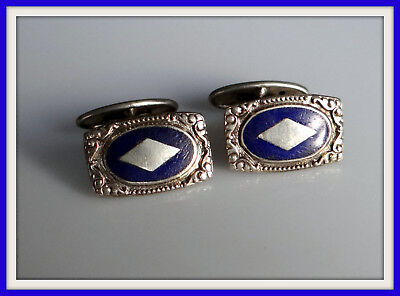 RARE 1920 cufflinks Antique RUSSIAN Sterling SILVER 875 ENAMEL Royal blue