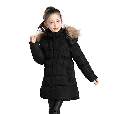 Girls Winter Down Jacket Thick Hooded Outwear Coat Fur Collar Long Section Child