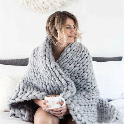 Large Luxury Hand Chunky Knitted Blanket Mink Warm Throw Over Bed Soft Bedspread